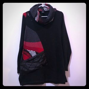 Michael Tyler Sweater w/Leather and Button Detail